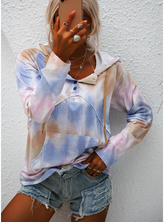 Tie Dye Hoodie Long Sleeves Button Up Casual Blouses