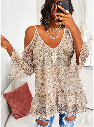 Lace Solid Cold Shoulder Flare Sleeve Long Sleeves Elegant Blouses