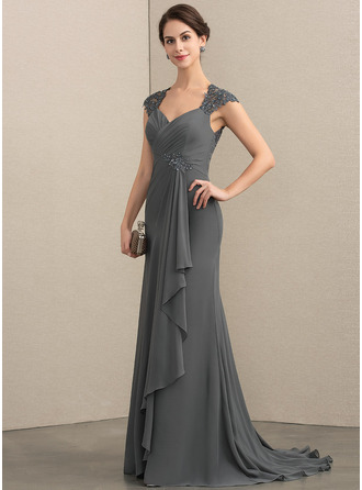 A-Line Sweetheart Sweep Train Chiffon Lace Mother of the Bride Dress With Beading Sequins