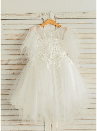 A-Line/Princess Knee-length Flower Girl Dress - Satin/Tulle Short Sleeves Scoop Neck With Beading