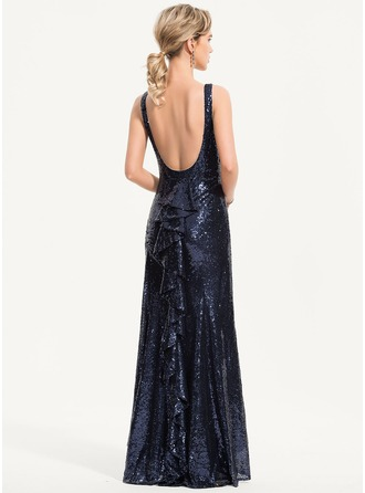 Trumpet/Mermaid Scoop Neck Asymmetrical Sequined Evening Dress