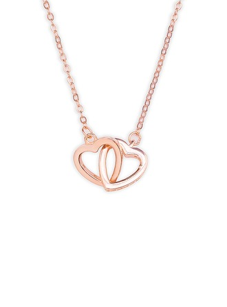18k Rose Gold Plated Silver Heart Necklace - Christmas Gifts