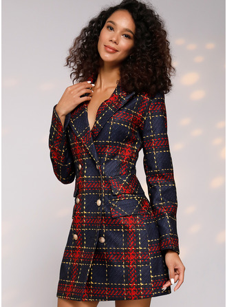 Plaid Bodycon Long Sleeves Mini Casual Elegant Dresses