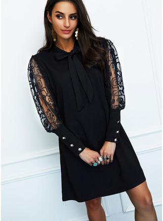 Einfarbig Etuikleider Lange Ärmel Mini Kleine Schwarze Party Elegant Modekleider