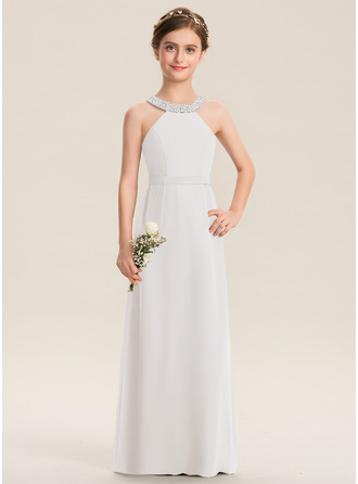 A-Line Scoop Neck Floor-Length Chiffon Junior Bridesmaid Dress With Beading Bow(s)