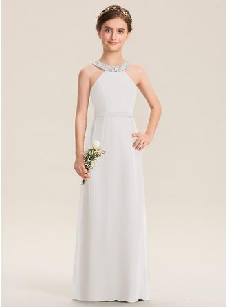 A-Linie U-Ausschnitt Bodenlang Chiffon Kleid für junge Brautjungfern mit Perlstickerei Schleife(n)