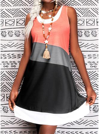 Color Block Shift Sleeveless Midi Casual Tank Dresses