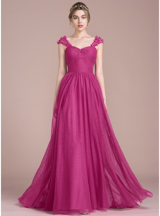 A-Line/Princess Sweetheart Sweep Train Tulle Prom Dresses With Ruffle Flower(s)