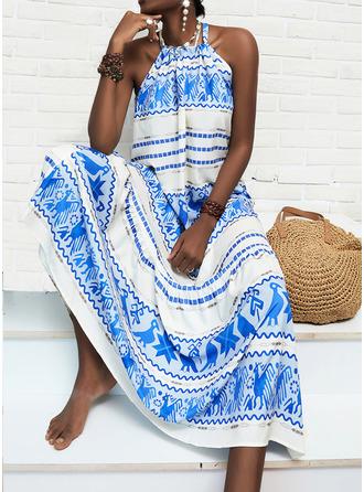 Print Shift Sleeveless Maxi Casual Vacation Dresses
