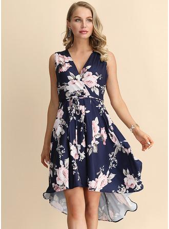 Floral Print A-line Sleeveless Asymmetrical Party Dresses