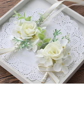Elegante Rotondo Raso Polso corsage/Fiore all'occhiello (Set di 2) - Polso corsage/Fiore all'occhiello
