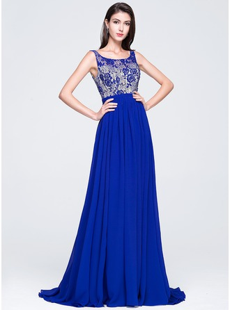 A-Line/Princess Scoop Neck Court Train Chiffon Prom Dress With Beading Sequins