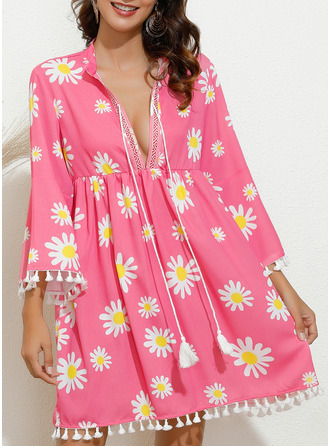 Floral Print Shift 3/4 Sleeves Mini Casual Vacation Tunic Dresses