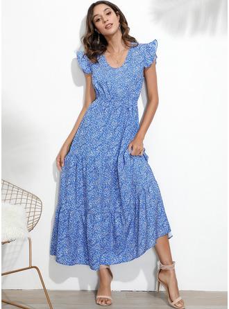 Vestido linha-A Decote em V Poliéster Vestidos na Moda