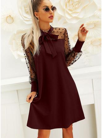 À Pois Couleur Unie Coupe droite Manches Longues Manches Bouffantes Mini Petites Robes Noires Fête Robes tendance