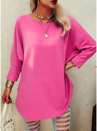 Solid Round Neck Batwing Sleeves Long Sleeves Casual Blouses