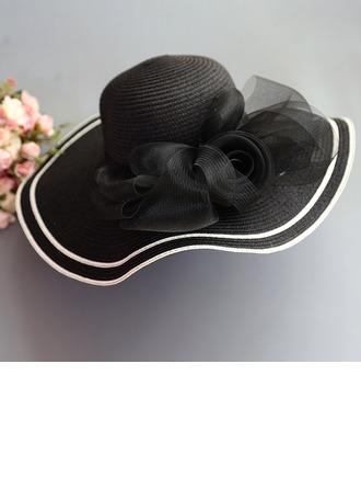 Ladies' Special/Elegant/Simple Raffia Straw With Tulle Straw Hat