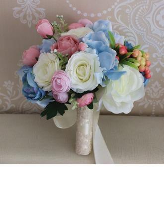 Käsin Sidottu Silkki kukka Morsiamen kukkakimppuihin/Koristeet (myydään yhtenä kappaleena) - Morsiamen kukkakimppuihin/Morsiusneito Kukkakimppuihin