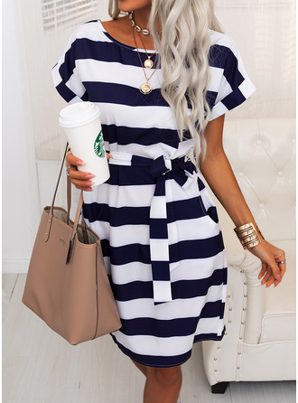 Striped Bodycon Short Sleeves Midi Casual Pencil Dresses