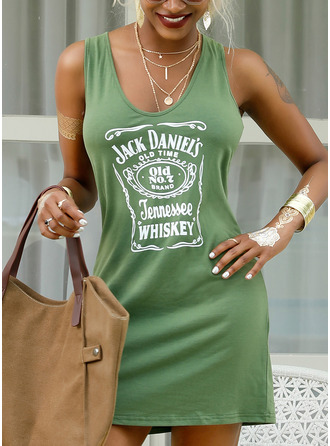 Print Sheath Sleeveless Mini Casual Tank Dresses