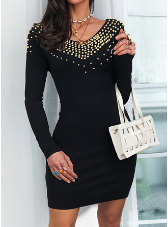Solid Beaded Bodycon Long Sleeves Mini Little Black Elegant Dresses