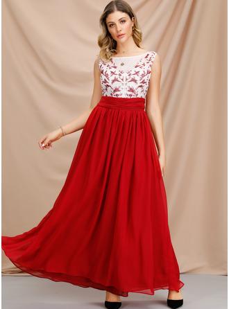 Solid A-line kjole Ermeløs Maxi Party Motekjoler