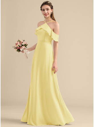 A-Line V-neck Floor-Length Chiffon Bridesmaid Dress With Bow(s) Cascading Ruffles
