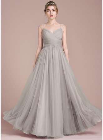 A-Line/Princess Floor-Length Tulle Prom Dress With Ruffle Beading
