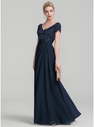 A-Line V-neck Floor-Length Chiffon Lace Evening Dress With Ruffle Beading