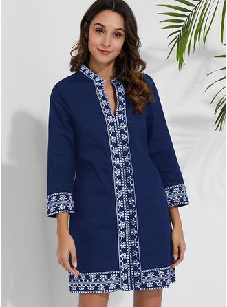 Print Shiftklänningar 3/4 ärmar Mini Fritids Semester Modeklänningar