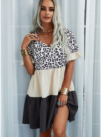 Leopard Color Block Šaty Shift Krátké rukávy Mini Neformální Tunika Módní šaty