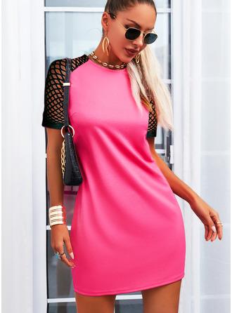 Pevný Síťovina Šaty Shift Krátké rukávy Mini Neformální Tunika Módní šaty