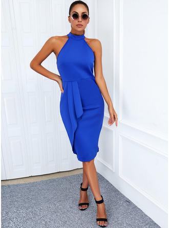 Solid Sheath Sleeveless Midi Elegant Dresses