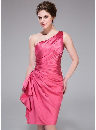 Sheath/Column One-Shoulder Knee-Length Charmeuse Cocktail Dress With Beading Cascading Ruffles