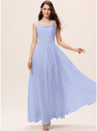 A-Line Cowl Neck Floor-Length Chiffon Bridesmaid Dress