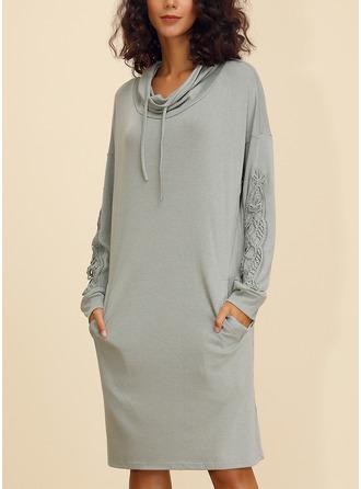 Lace Solid Shift Long Sleeves Midi Casual Sweatshirt Dresses