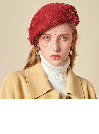 Señoras' Glamorosa/Encanto/Romántico Madera con Tul Boina Sombrero