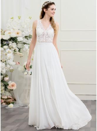 A-linjeformat V-ringning Sweep släp Chiffong Bröllopsklänning