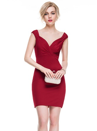 Sheath/Column Sweetheart Short/Mini Jersey Cocktail Dress With Ruffle
