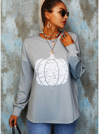 Print Round Neck Long Sleeves Halloween Casual T-shirt