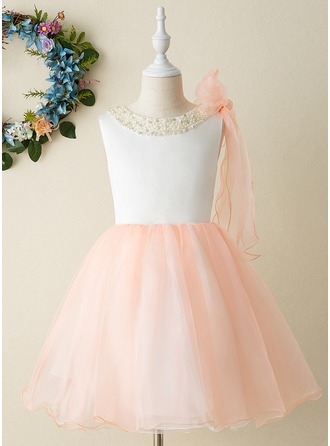 A-Line Knee-length Flower Girl Dress - Organza/Satin Sleeveless Scoop Neck With Beading