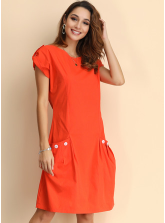 Solid Shift Cap Sleeve Midi Casual Dresses