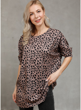 Leopard Round Neck Long Sleeves Casual