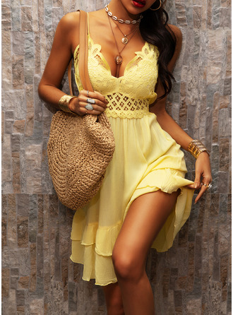 Lace Solid Shift Sleeveless Mini Casual Vacation Type Dresses