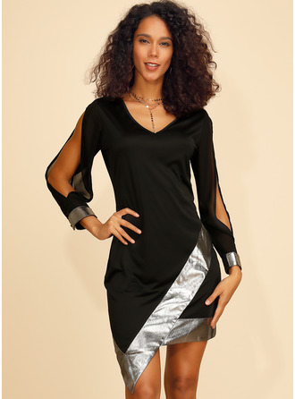 Above Knee V neck Acrylic Sequins Long Sleeves/Split Sleeve Fashion Dresses