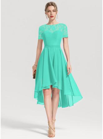 A-Line Scoop Neck Asymmetrical Chiffon Homecoming Dress