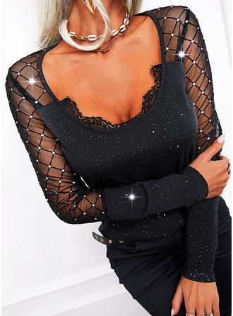 Print Sequins V-Neck Long Sleeves Elegant Blouses