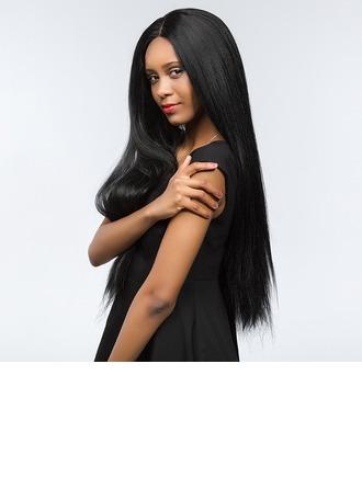 4A non remy Yaki Straight Cheveux humains Perruques avant en dentelle 190g