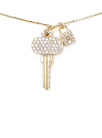 18k Gold Plated Silver Locket Key Pendant Necklace Charm Necklace