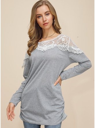 Lace Round Neck Long Sleeves Casual